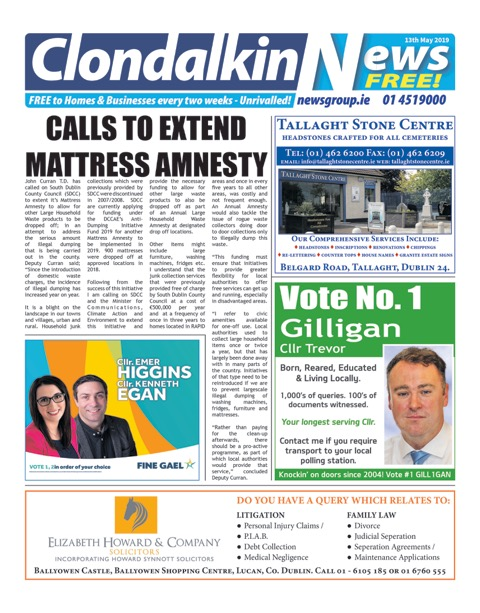 Clondalkin News Front Cover May 13th 2019