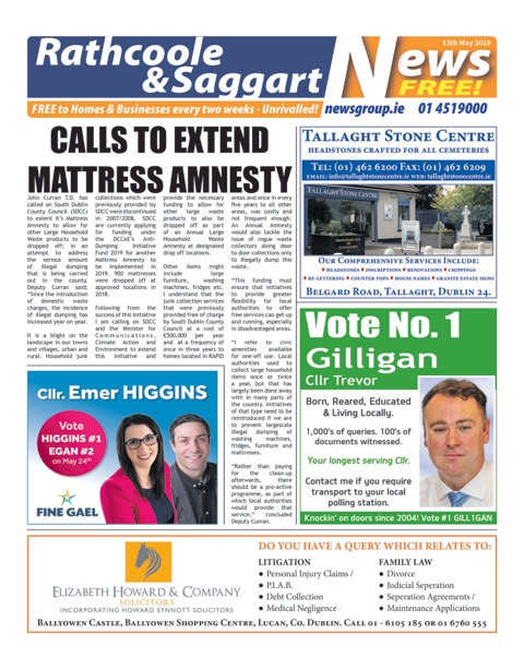 Rathcoole and Saggart News Front Cover 13th May 2019
