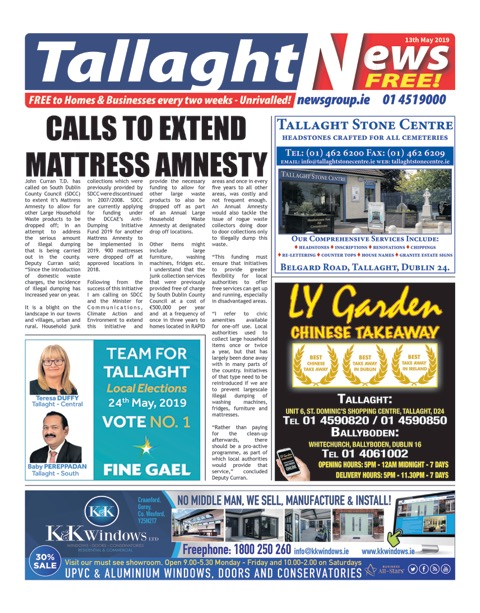 Tallaght News Front Page 13th May 2019