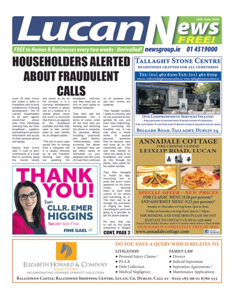 Lucan News Front Cover Jun 10th 2019