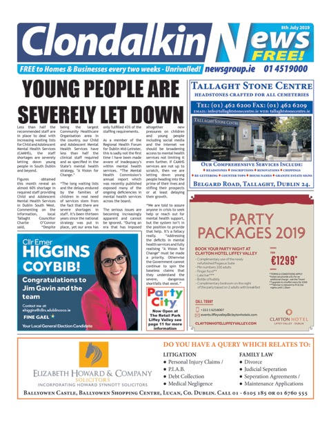 Clondalkin News Front Cover Jul 8th 2019