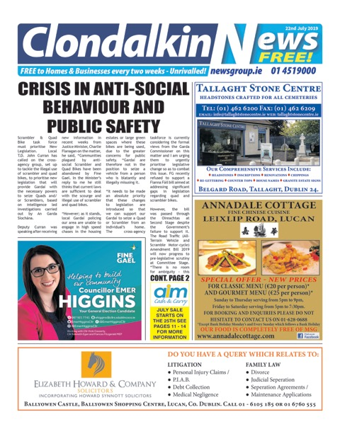 Clondalkin News Front Cover Jul 22nd 2019