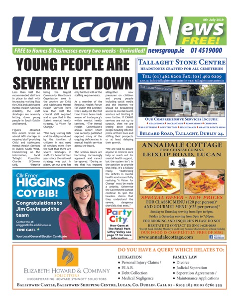 Lucan News Front Cover Jul 8th 2019