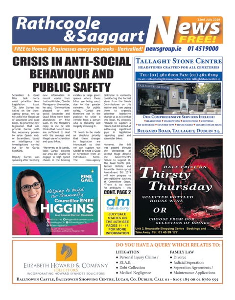 Rathcoole and Saggart News Front Cover 22nd Jul 2019