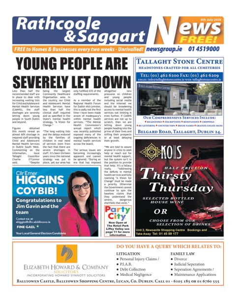 Rathcoole and Saggart News Front Cover 8th Jul 2019