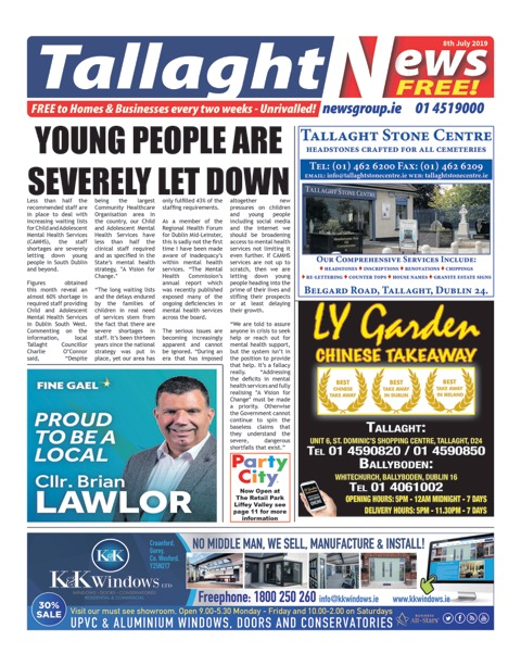 Tallaght News Front Page 8th Jul 2019