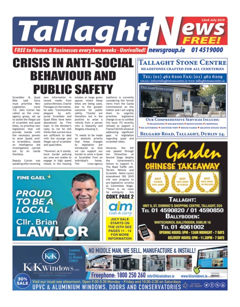 Tallaght News Front Page 22nd Jul 2019