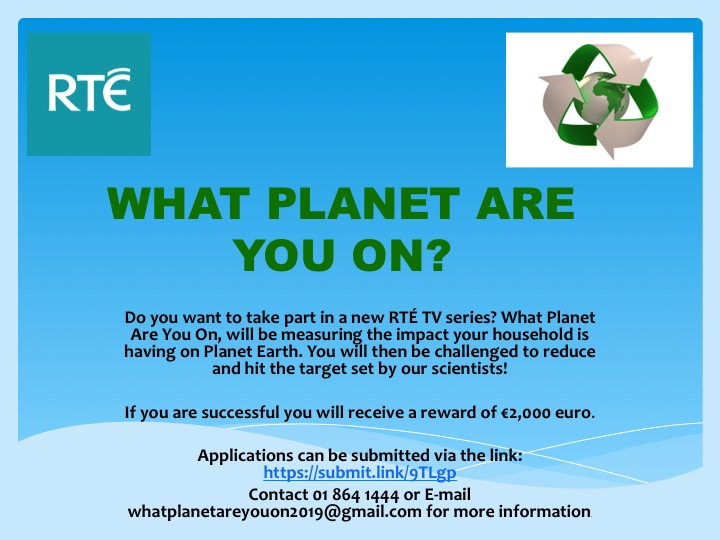 Call for Households to Take Part In 'What Planet Are you on?'