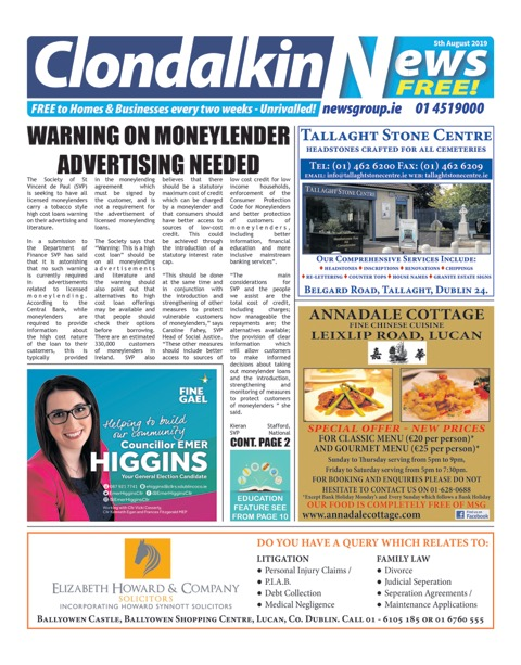 Clondalkin News Front Cover Aug 5th 2019