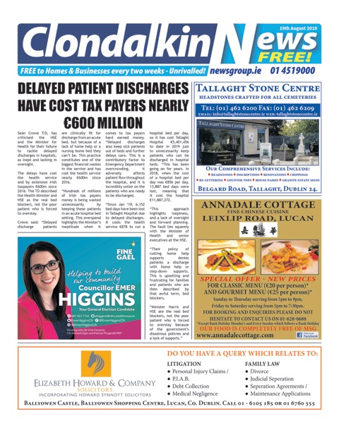 Clondalkin News Front Cover Aug 19th 2019