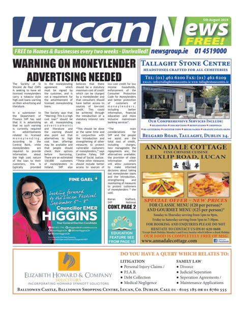 Lucan News Front Cover Aug 5th 2019