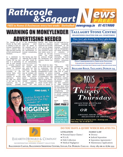 Rathcoole and Saggart News Front Cover 5th Aug 2019