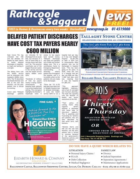 Rathcoole and Saggart News Front Cover 10th June 2019