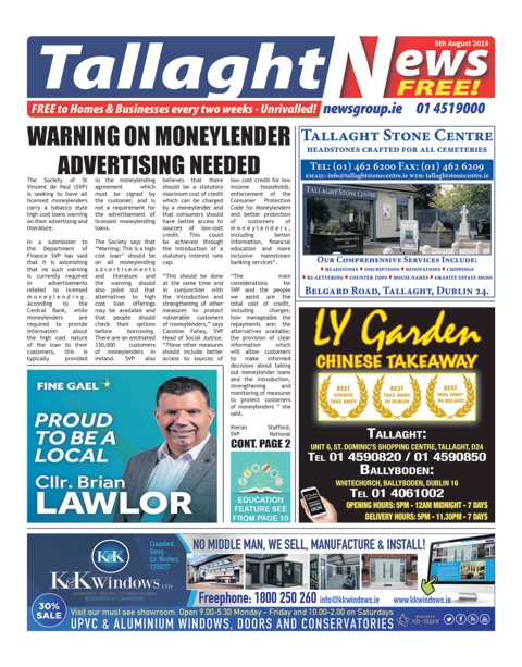 Tallaght News Front Page 5th Aug 2019