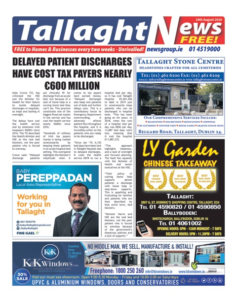 Tallaght News Front Page 19th Aug 2019