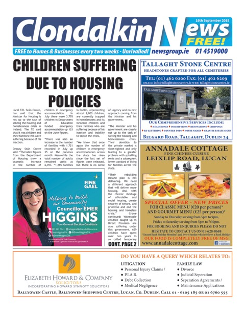 Clondalkin News Front Cover Sep 16th 2019