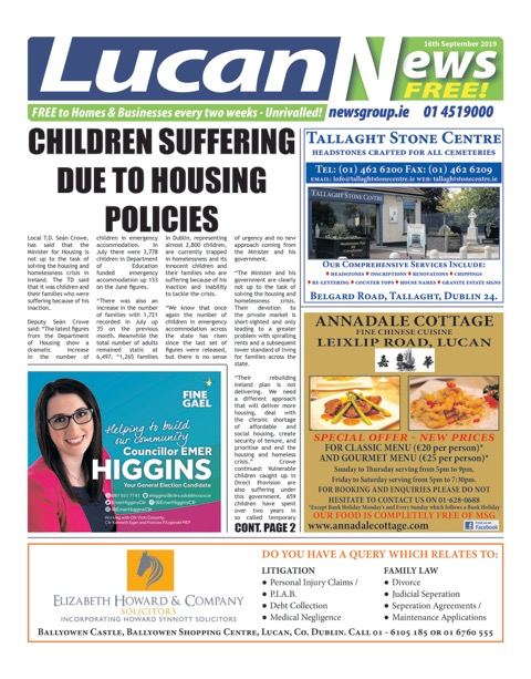 Lucan News Front Cover Sep 16th 2019