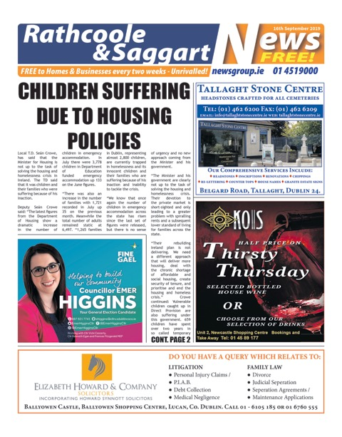 Rathcoole and Saggart News Front Cover 16th Sep 2019