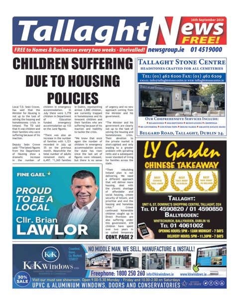 Tallaght News Front Page 2nd Sep 2019