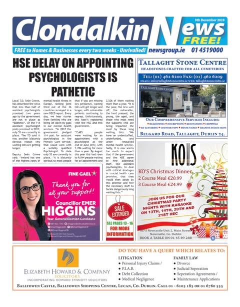 Clondalkin News Front Cover Jun 10th 2019