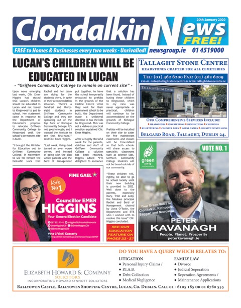 Clondalkin News Front Cover Jun 10th 2019