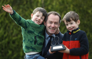 Damien Eagers with his sons Dan (4) and Tom (5)