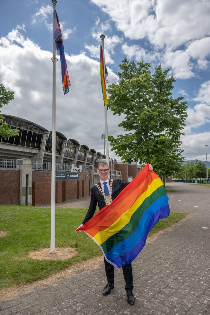 Supporting Pride. Cllr Ed O'Brien Mayor of South Dublin at Tallaght Stadium..