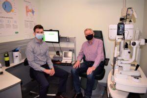 Specsavers Optometrist Patrick Dennehy with John O'Halloran